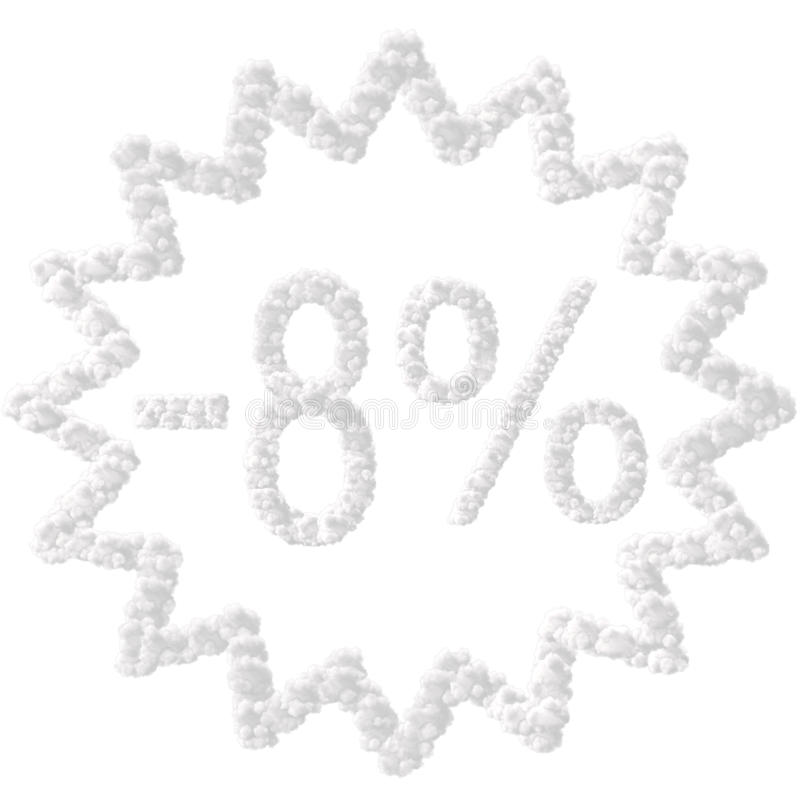 Discount - 8 percent. Made from clouds on white background stock illustration