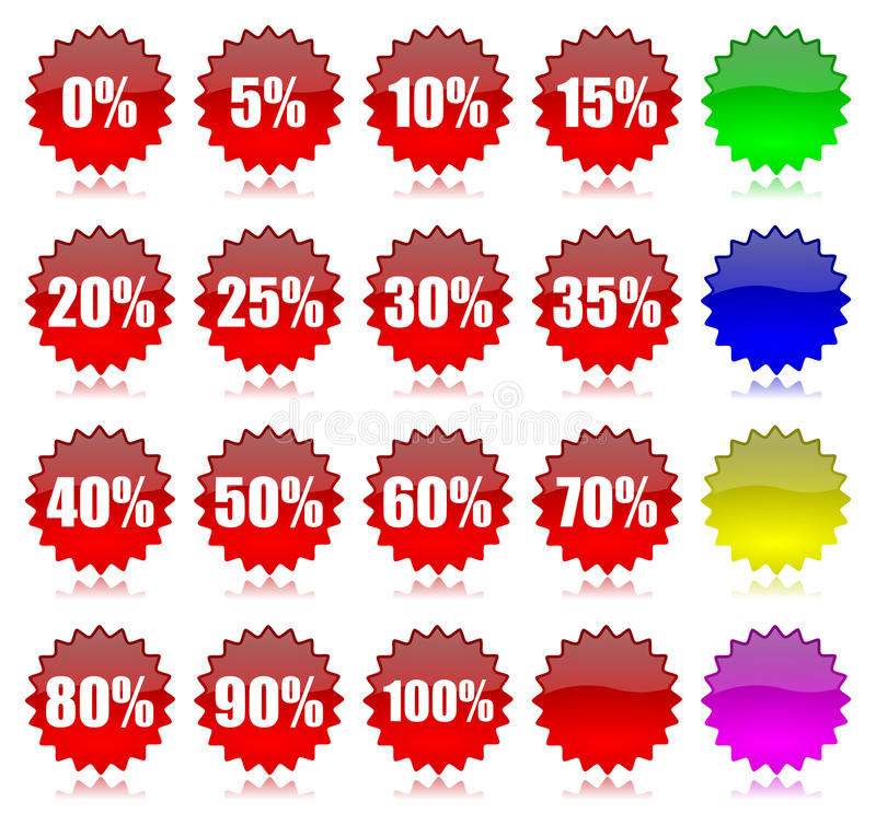 Download Discount Percentage Icons Set Stock Photo - Image: 25073480