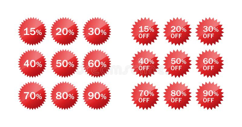 Discount price off star circle glossy sticker set. vector illustration