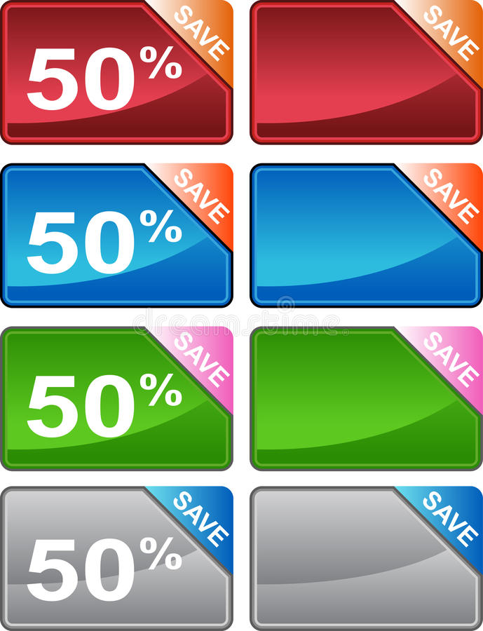 Discount Price Tag Set stock illustration