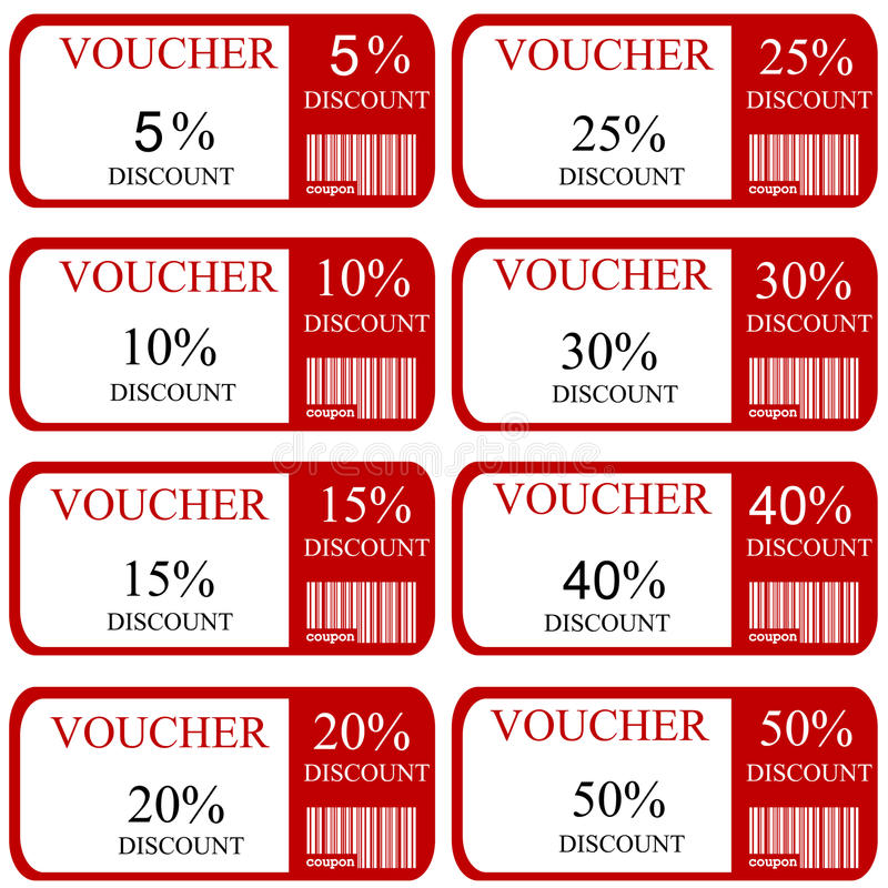 Discount promotion coupons stock illustration