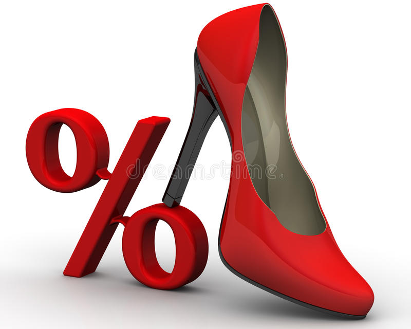 Discount on the purchase of women`s shoes stock illustration