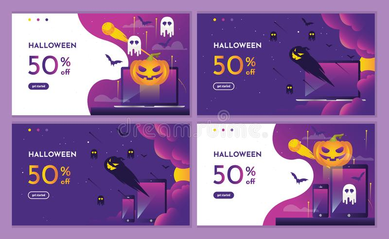 Discount Purple halloween night event with pumpkin and devices. landing page website, background and banner design template. royalty free illustration