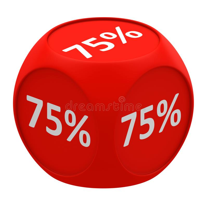 Discount cube concept 75% stock illustration