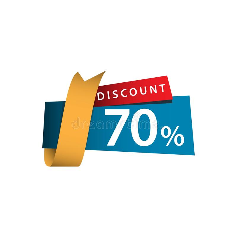 Discount 70% Ribbon Sale Vector Template Design Illustration. Off banner promo offer red promotion business tag retail price special paper percent sticker stock illustration