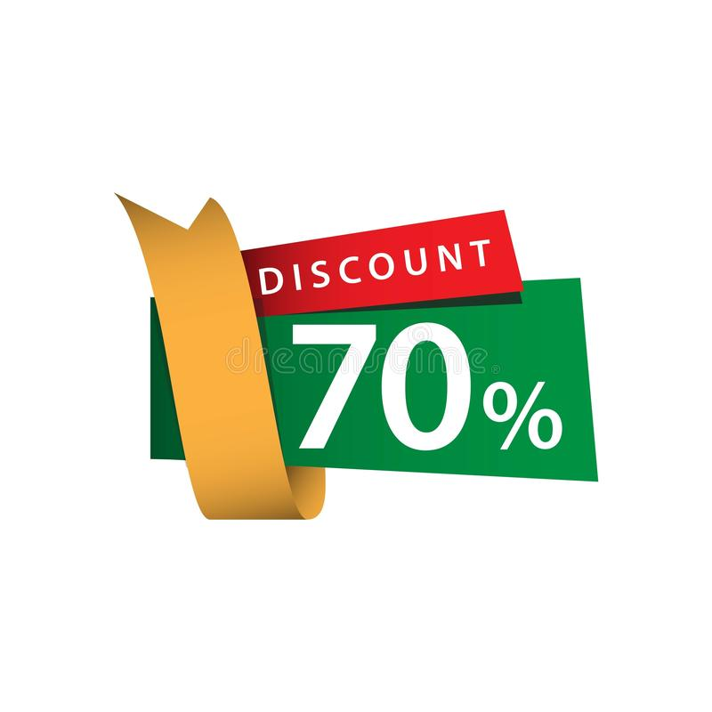 Discount 70% Ribbon Sale Vector Template Design Illustration. Off banner promo offer red promotion business tag retail price special paper percent sticker vector illustration