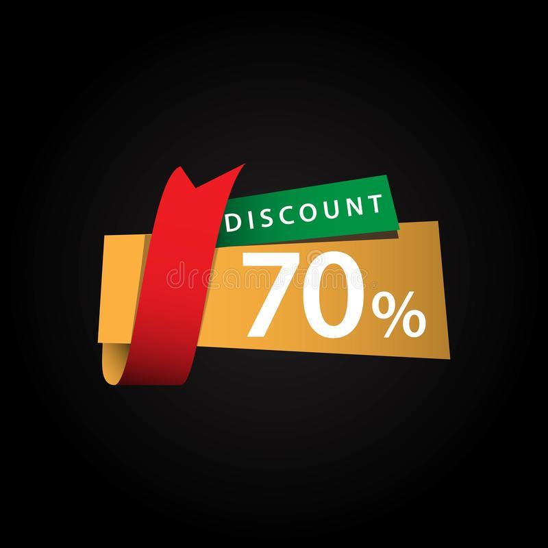 Discount 70% Ribbon Sale Vector Template Design Illustration. Off banner promo offer red promotion business tag retail price special paper percent sticker royalty free illustration