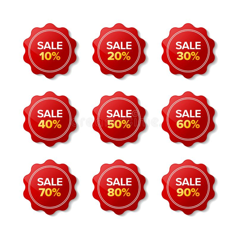 Discount sale sticker red label vector royalty free stock photography