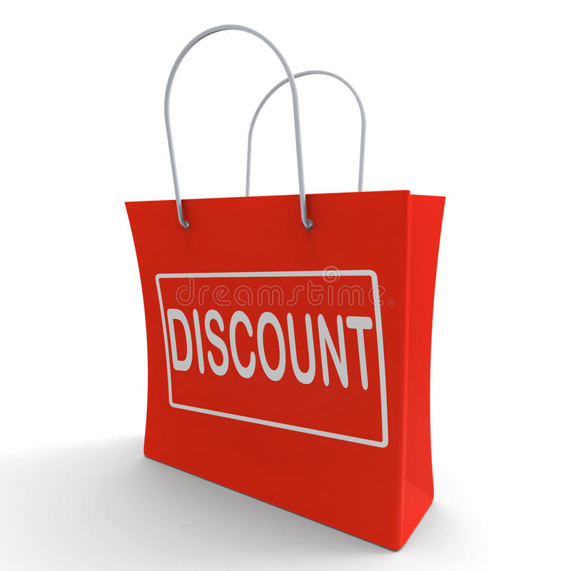 Discount Shopping Bag Means Cut Price Or Reduce. Discount Shopping Bag Meaning Cut Price Or Reduce stock illustration