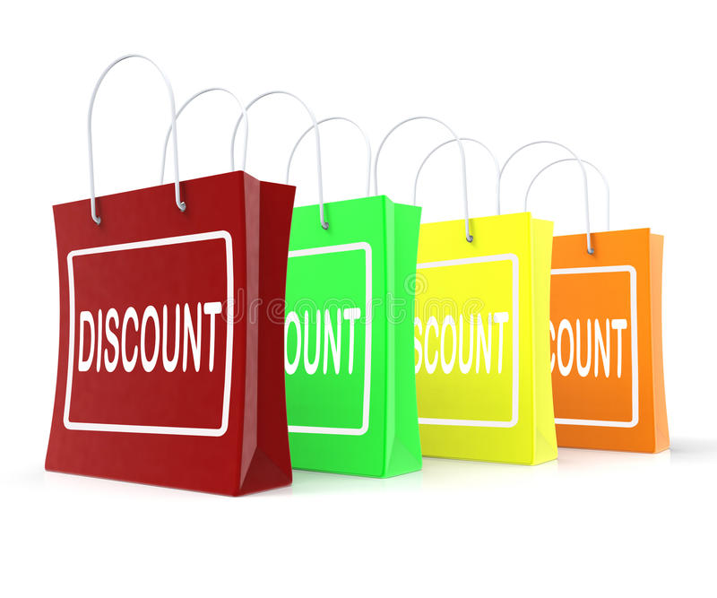 Discount Shopping Bags Means Cut Price Or Reduce. Discount Shopping Bags Meaning Cut Price Or Reduce royalty free illustration