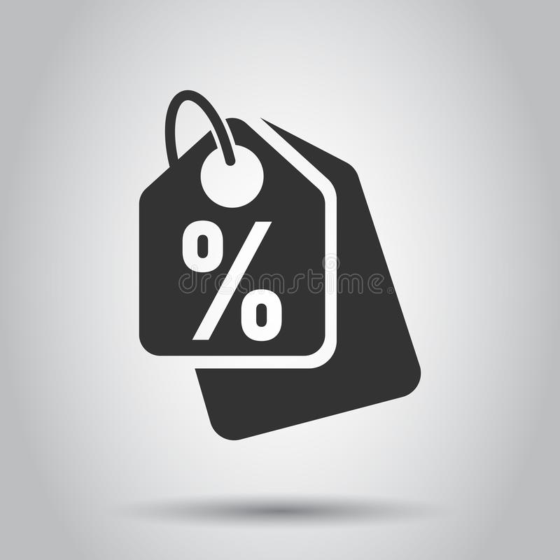 Discount shopping tag icon in flat style. Discount percent coupon illustration on white background. Shop badge business concept.  vector illustration