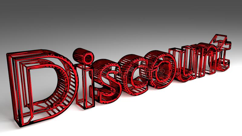 Discount sign in red and glossy letters vector illustration