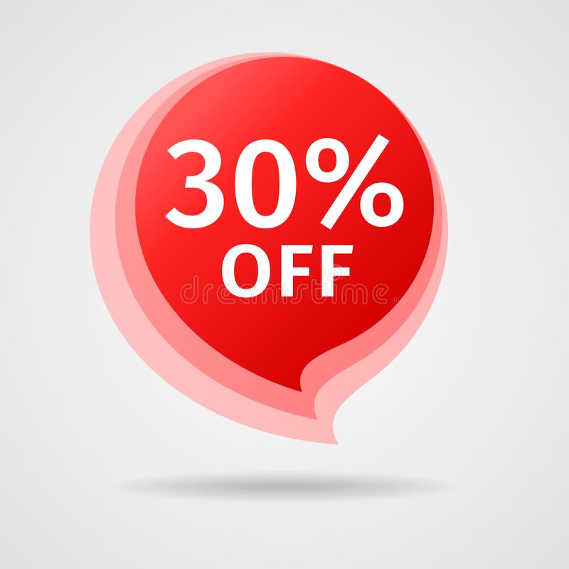 Discount Sticker with 30% Off royalty free illustration