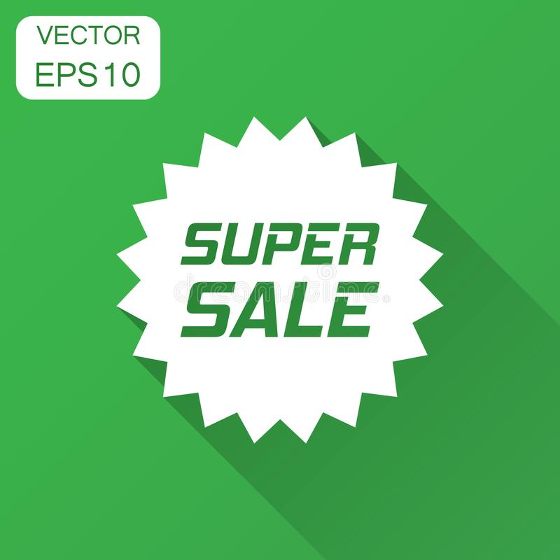 Discount sticker vector icon in flat style. Sale tag sign illustration with long shadow. Promotion super sale discount concept. stock illustration