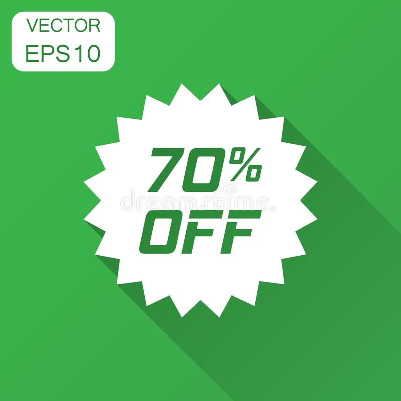 Discount sticker vector icon in flat style. Sale tag sign illustration with long shadow. Promotion 70 percent discount concept. royalty free illustration