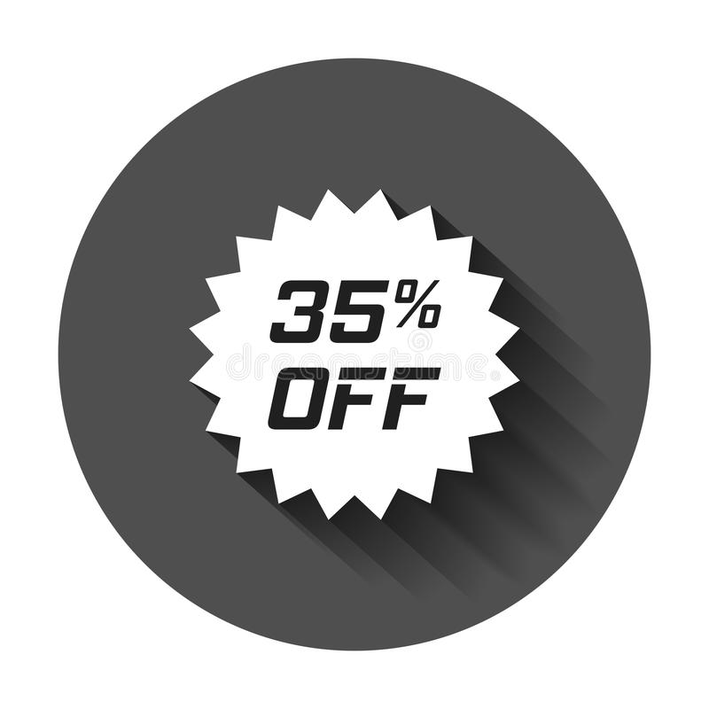 Discount sticker vector icon in flat style. Sale tag sign illustration with long shadow. Promotion 35 percent discount concept. royalty free illustration