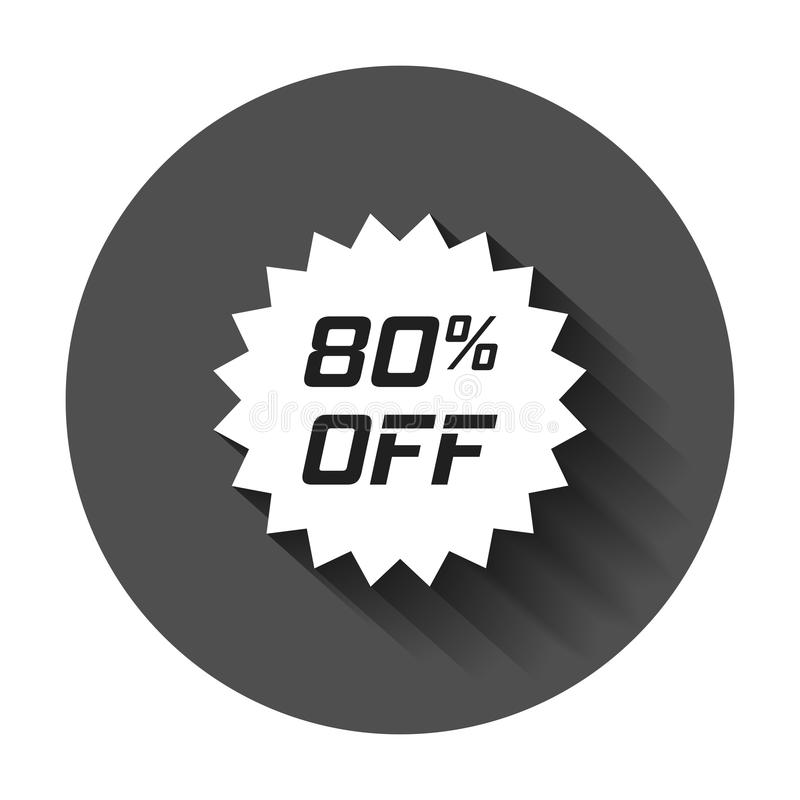Discount sticker vector icon in flat style. Sale tag sign illustration with long shadow. Promotion 80 percent discount concept. stock illustration