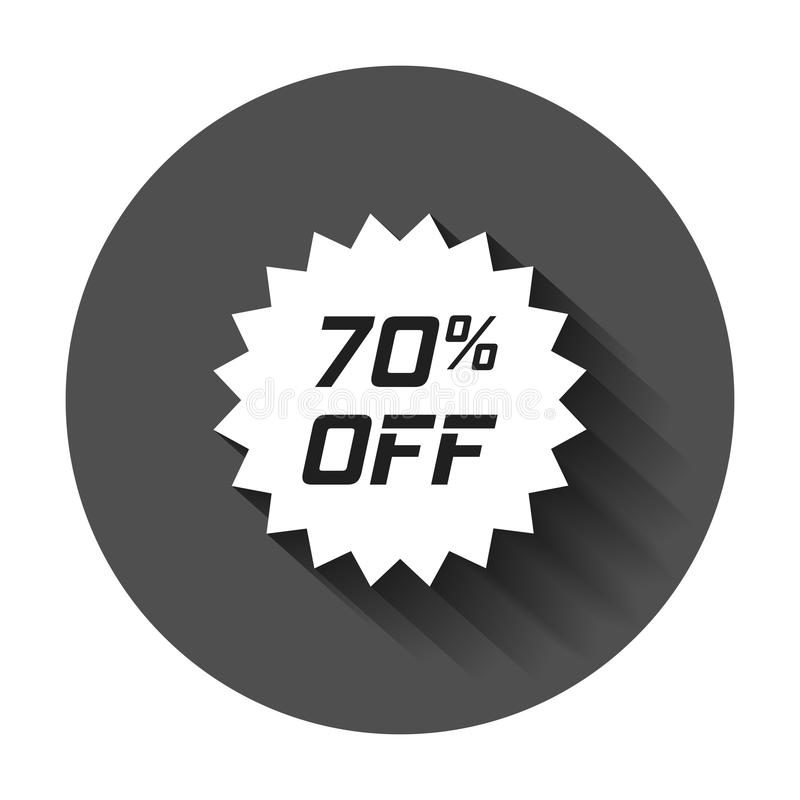 Discount sticker vector icon in flat style. Sale tag sign illustration with long shadow. Promotion 70 percent discount concept. stock illustration