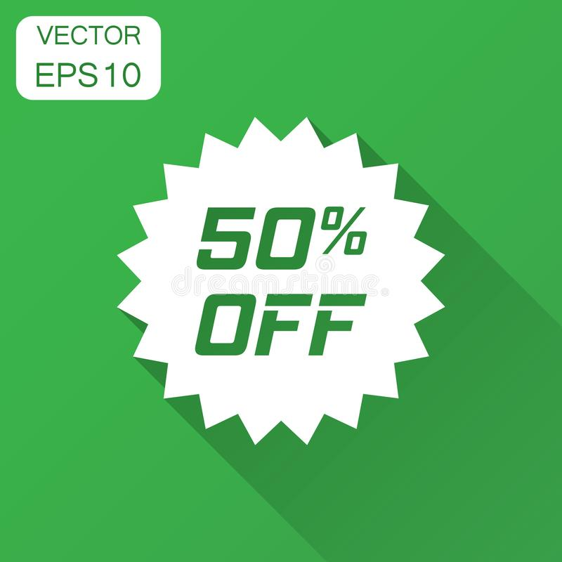Discount sticker vector icon in flat style. Sale tag sign illustration with long shadow. Promotion 50 percent discount concept. stock illustration