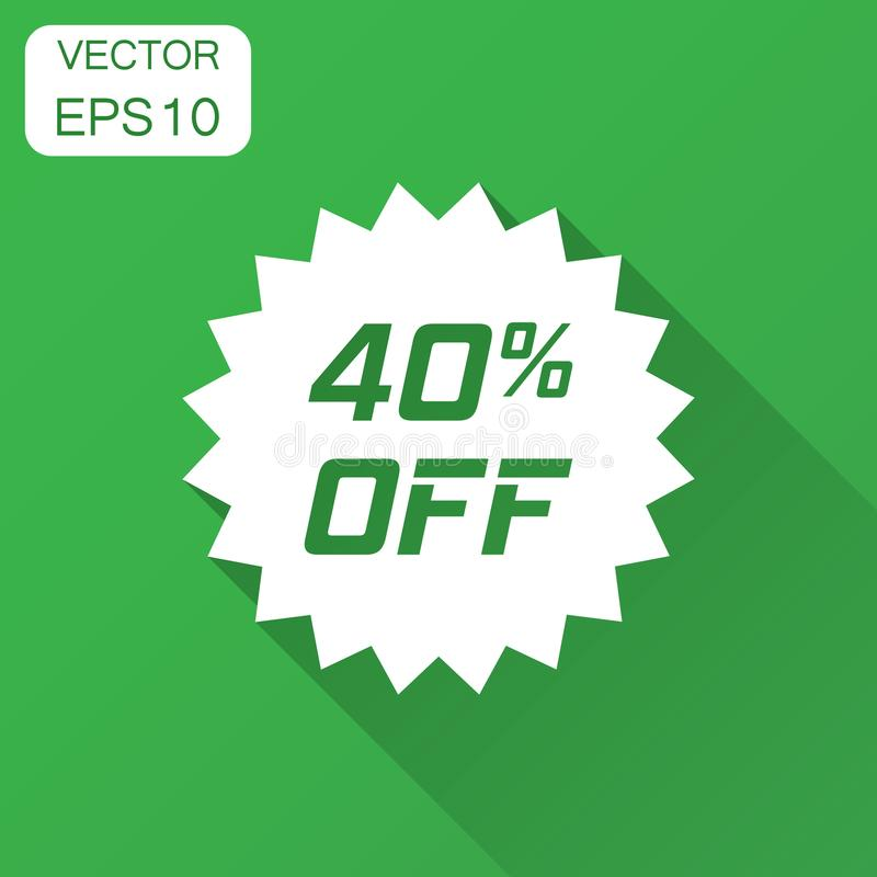 Discount sticker vector icon in flat style. Sale tag sign illustration with long shadow. Promotion 40 percent discount concept. royalty free illustration