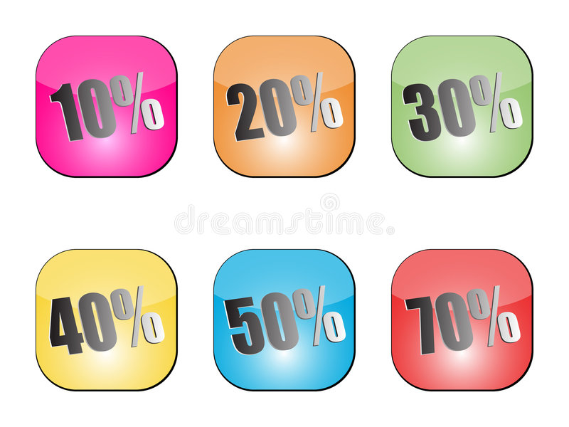 Discount stickers. Different colors vector illustration vector illustration