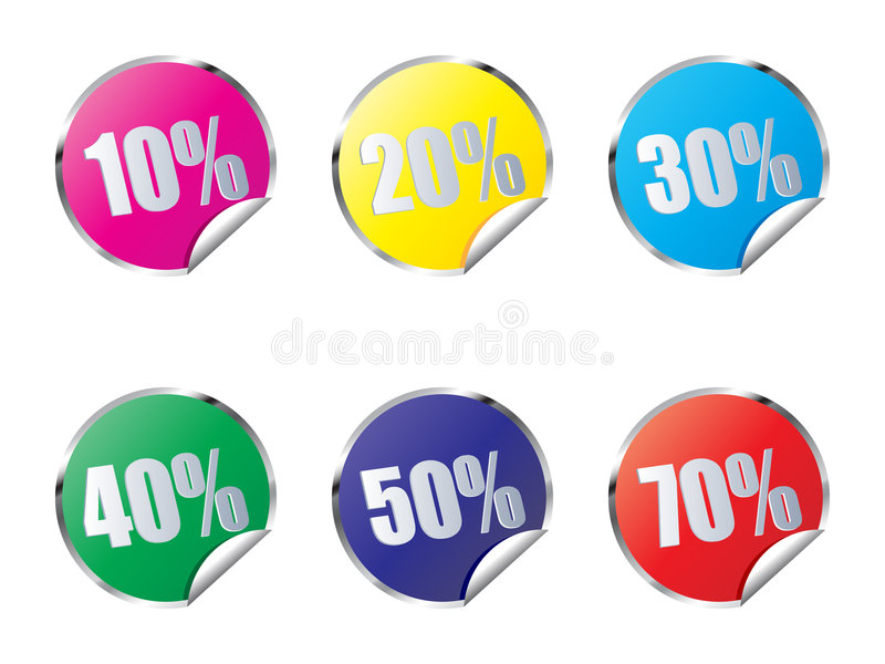 Discount stickers. Different colors isolated on white background stock illustration