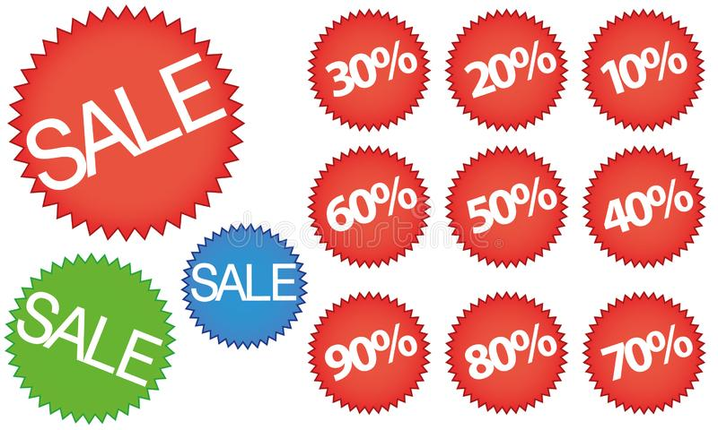 Discount Stickers and Banners set red, green and blue. Vector illustartion of red stickers and labels isolated for products price reduction royalty free illustration