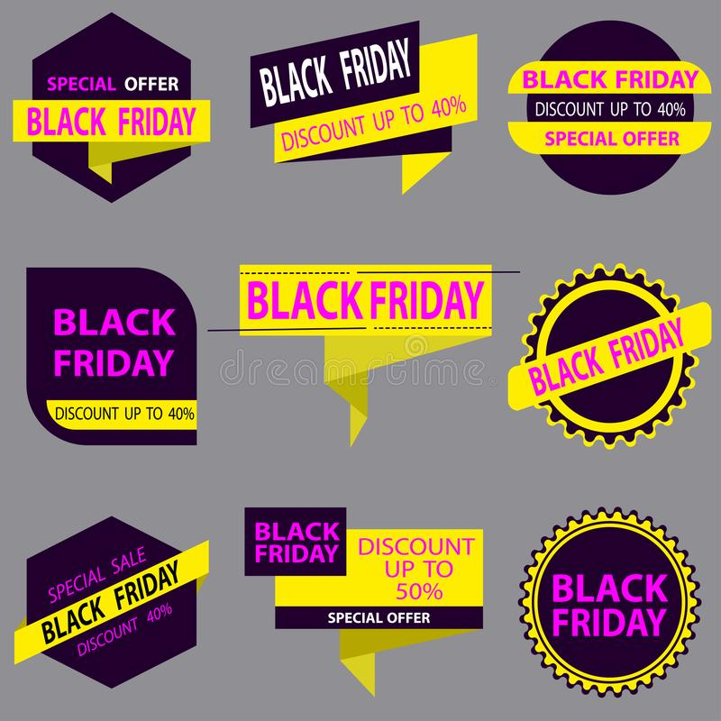 Discount stickers and promotions of yellow and violet colors on a light background. Vector royalty free illustration