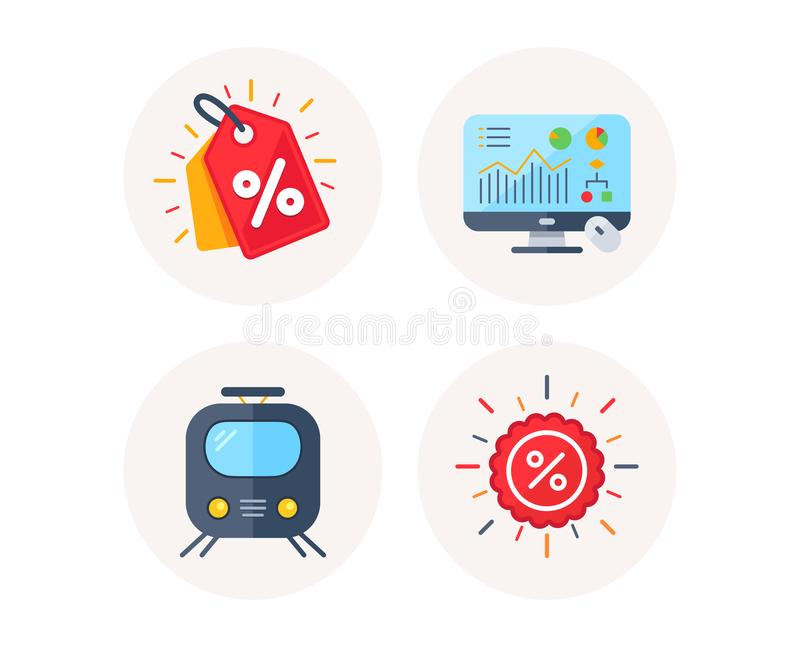 Discount tag, Railway transport and Analytics graph icons. Sale discount sign. Vector. Set of Discount tag, Railway transport and Analytics graph icons. Sale stock illustration