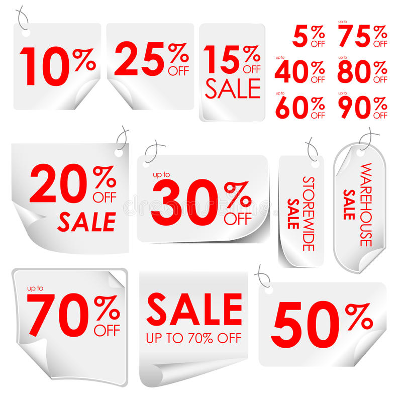 Discount tags. Various discount tags varying in percentage discounts vector illustration