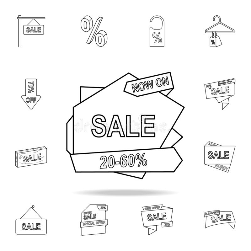 20-50 discount on the tape icon. Detailed set of clearance sale icons. Premium graphic design. One of the collection icons for stock illustration