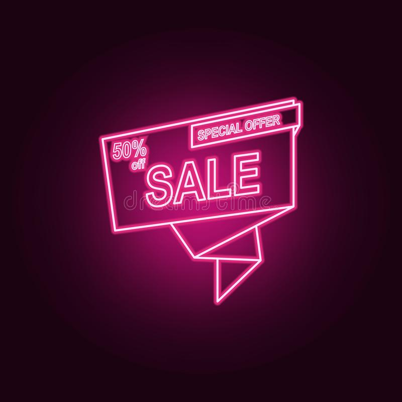 50 discount on tape neon icon. Elements of Sale set. Simple icon for websites, web design, mobile app, info graphics vector illustration