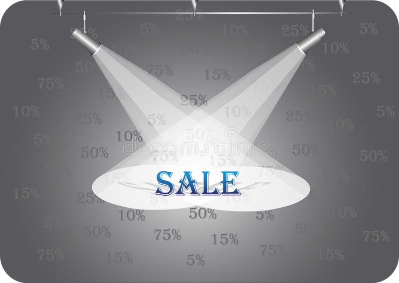 Discount under searchlights royalty free illustration