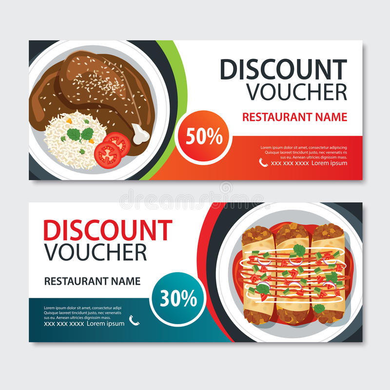 Discount voucher mexican food template design. Set of mole poblano, enchiladas royalty free illustration