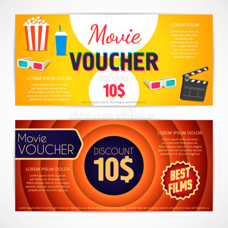 Discount voucher movie template, cinema gift certificate, coupon stock illustration