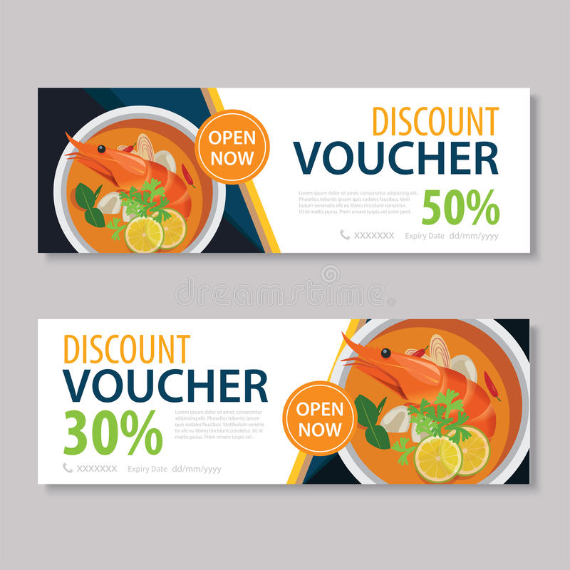 Discount Voucher Template With Thai Food Flat Design Stock Vector