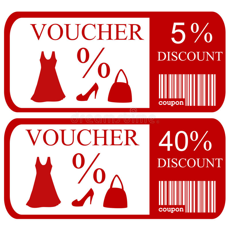 5% and 40% discount vouchers stock illustration