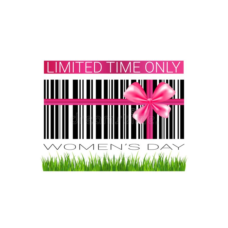 Discount woman day badge template sale seal promotion sticker with bar code. Vector illustration stock illustration