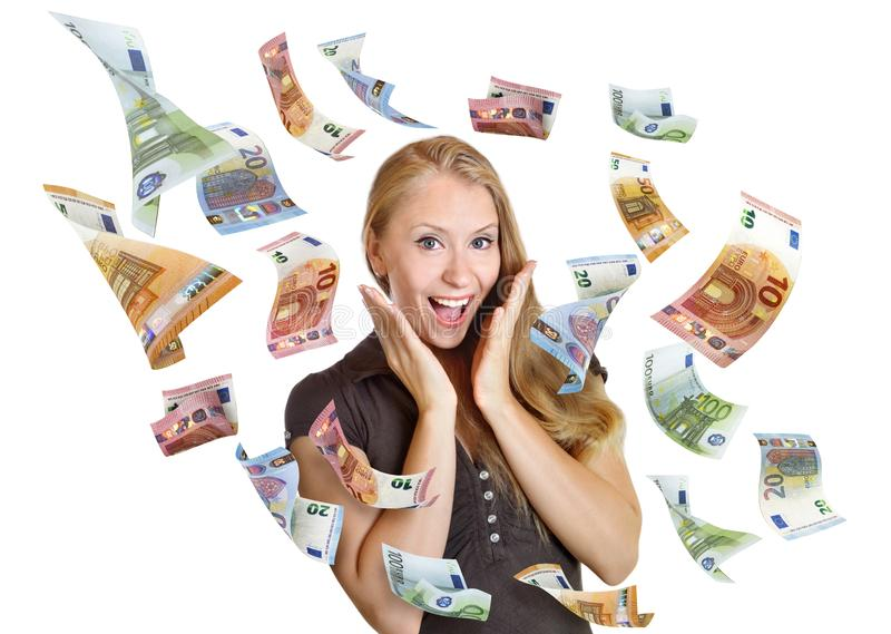 Discount woman happy surprise sale money from sky. Young pretty blonde is very happy about a cash rain royalty free stock photography