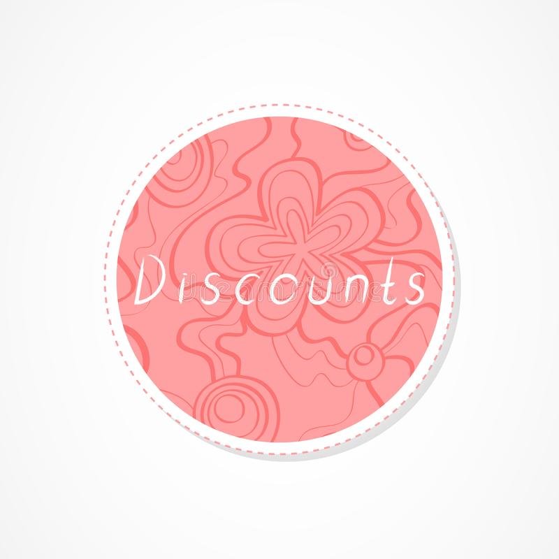 Discounts inscription on decorative round backgrounds with floral pattern. Hand drawn lettering. Vector illustration stock illustration