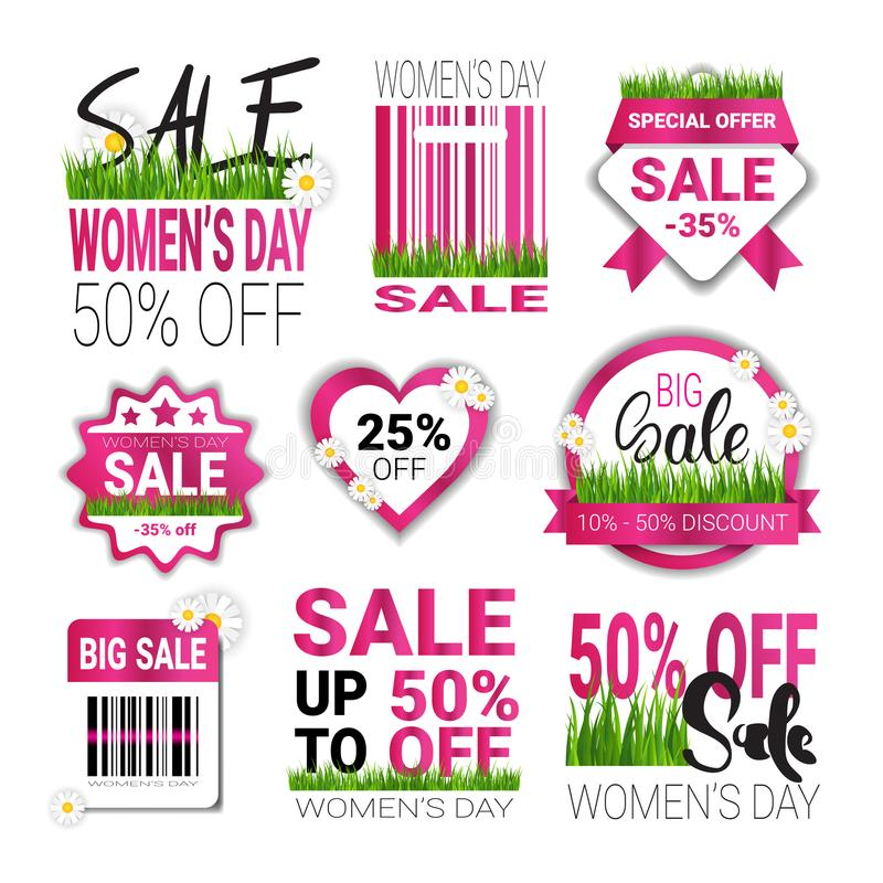 Discounts For 8 March Tags Set Template International Women Day Sale Badges Collection Promotion Sticker Isolated. Vector Illustration stock illustration