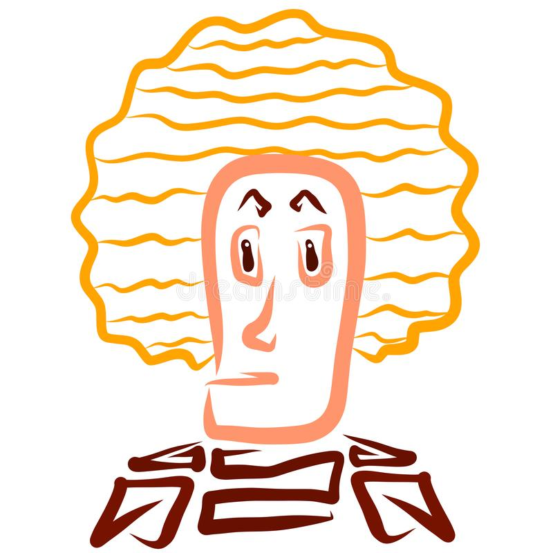 Discouraged man with lush hairstyle with wavy lines.  stock illustration