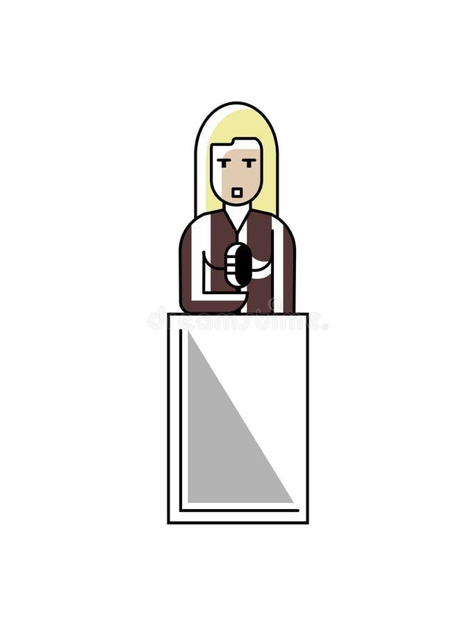 Discours blond de femme d'affaires sur la tribune illustration de vecteur