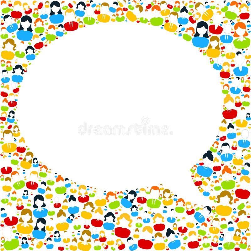 Discours de bulle avec des icônes de personnes illustration stock