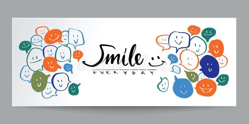 Discours de sourire de style de griffonnage et calligraphie colorés tirés par la main, p illustration stock