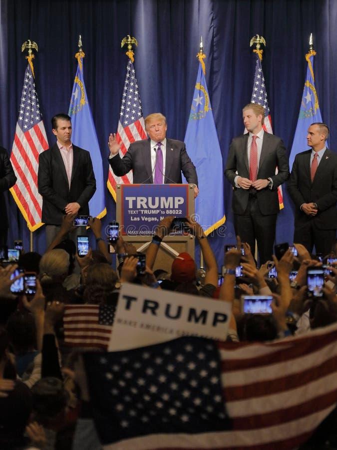Discours de victoire de Donald Trump suivant la grande victoire dans le comité du Nevada, Las Vegas, nanovolt photo libre de droits