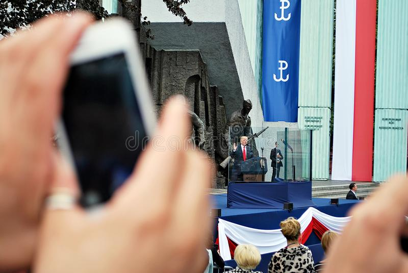 Discours du Président Donald Trump au peuple de la Pologne photographie stock