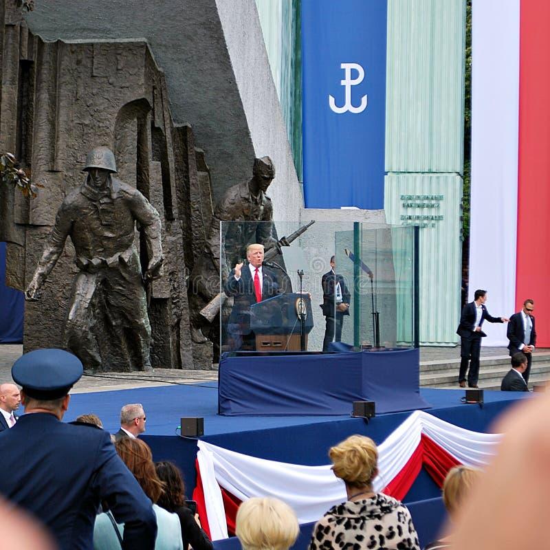 Discours du Président Donald Trump au peuple de la Pologne images stock