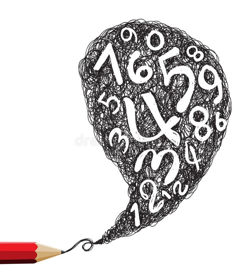 Discours rouge de dessin au crayon avec des symboles de numéros illustration libre de droits