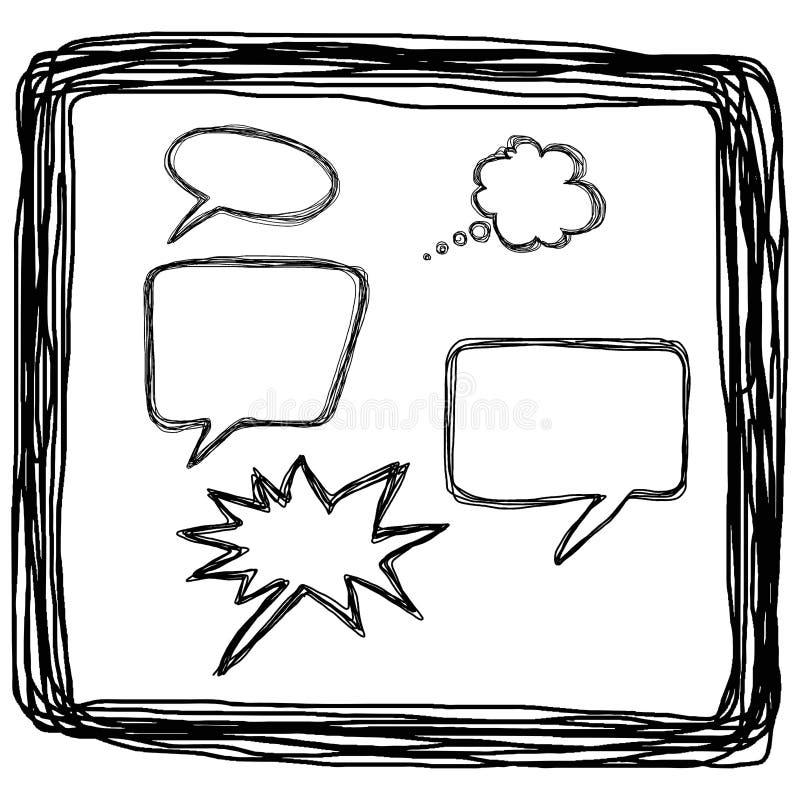 Discours tiré par la main de ballon de bulle dans les lignes carrées, llustration VE illustration de vecteur